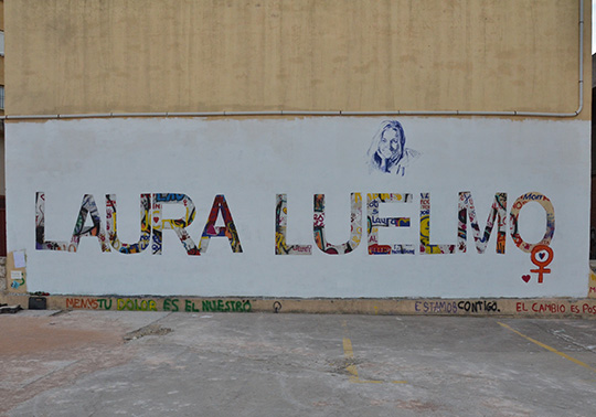 Mural in memory of Laura Luelmo at the University of Valencia
