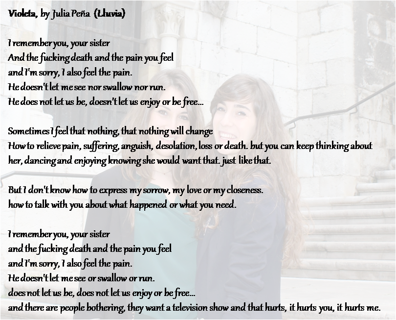 "Lyrics of the song ""Violeta"", written, composed and performed by Julia Peña (Badajoz, 1995)"